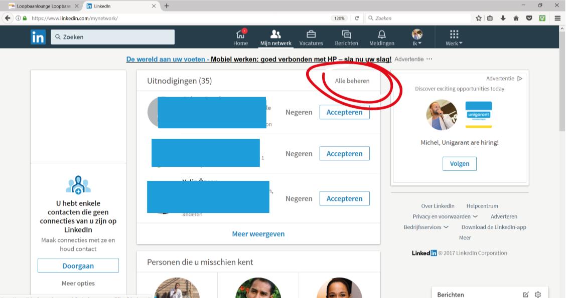 Screenshot LinkedIn uitnodigingen